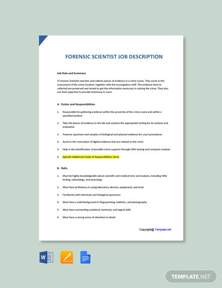 Free Forensic Scientist Job Ad and Description Template