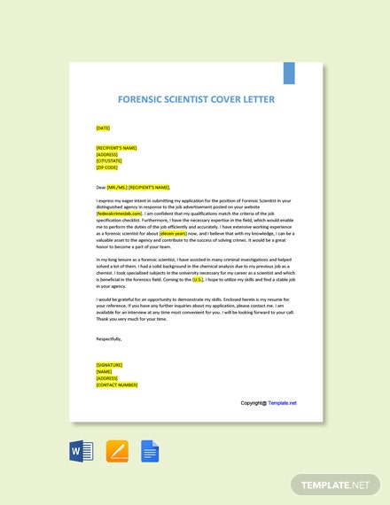 Free Forensic Scientist Cover Letter Template