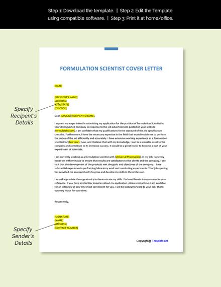 Formulation Scientist Cover Letter Template