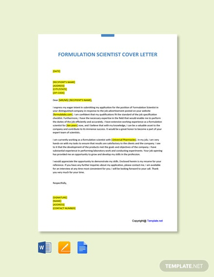 Free Formulation Scientist Cover Letter Template