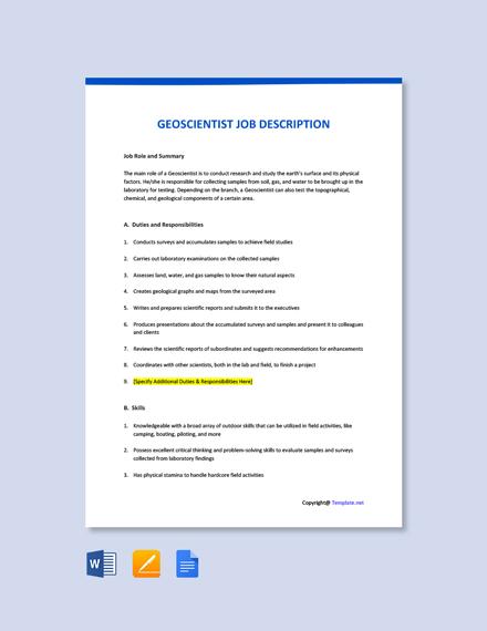 Free Geoscientist Job Ad/Description Template