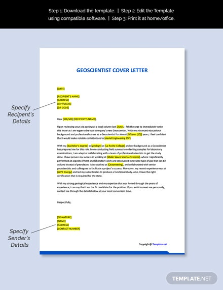 Geoscientist Cover Letter Template