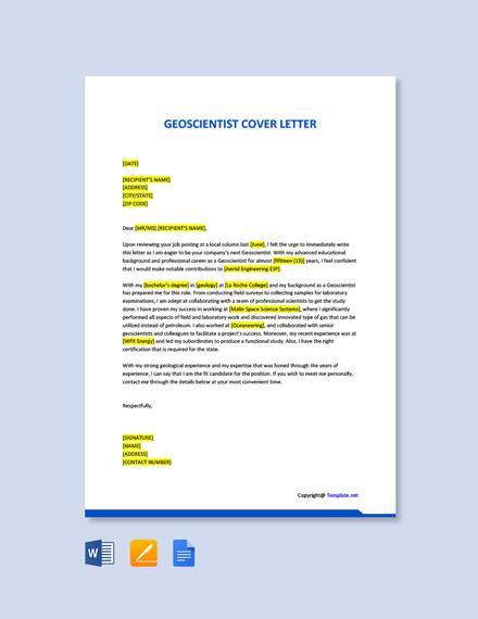 Geoscientist Cover Letter