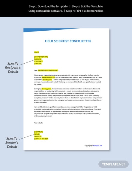 Field Scientist Cover Letter Template