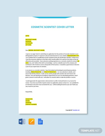 Free Cosmetic Scientist Cover Letter Template