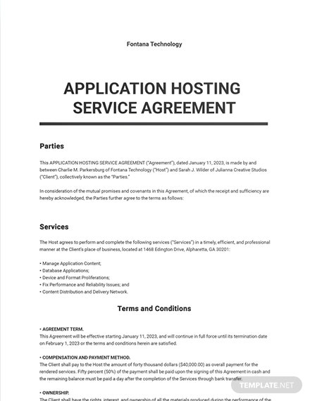 Application Hosting Service Agreement Template