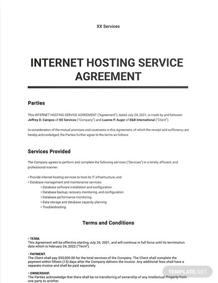 Internet Hosting Service Agreement Template