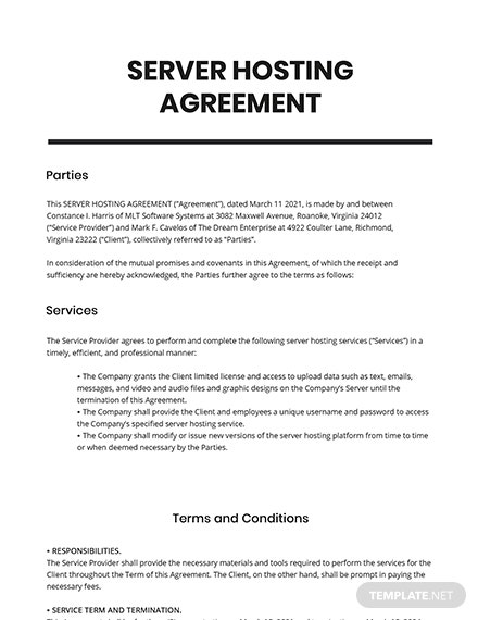 Server Hosting Agreement Template