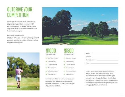 Golf Brochure Template In In Adobe Photoshop Illustrator InDesign - Golf brochure template