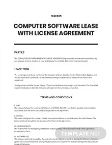 Computer Software Lease with License Agreement Template