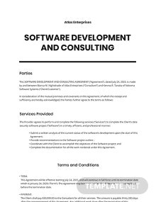 Software Development and Consulting Agreement Template