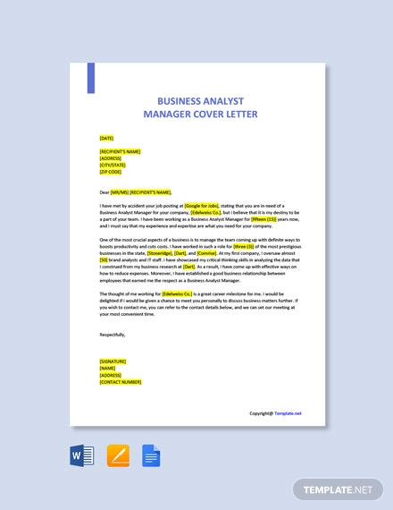 Free Business Analyst Manager Cover Letter Template