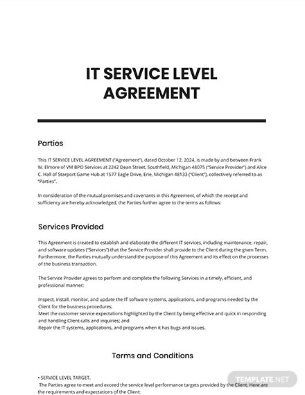 IT Service Level Agreement Template