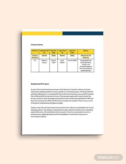 Software Testing Report Template