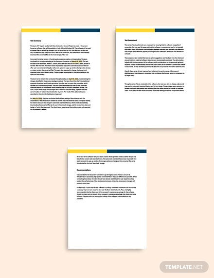Software Testing Report format
