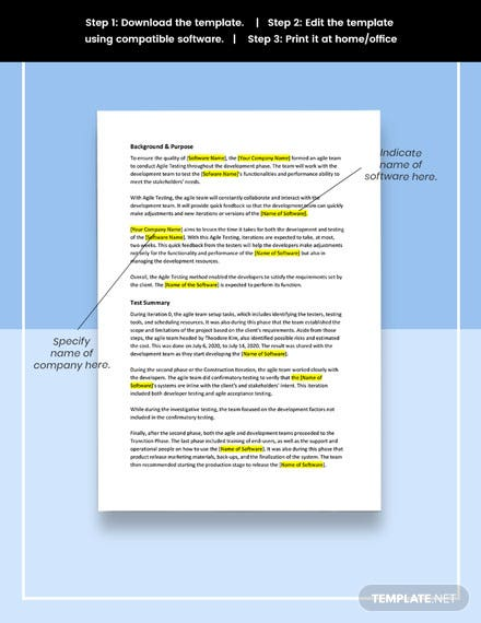 Agile Test Report Format