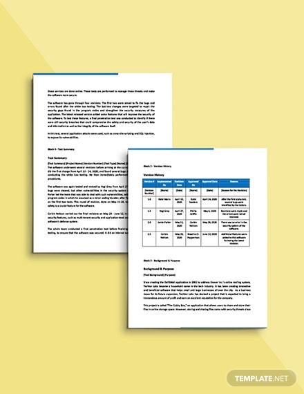 Software Test Report Template printable
