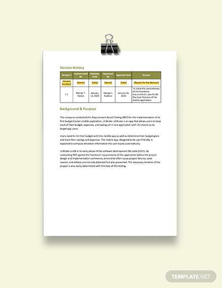 Requirements Testing Report Template