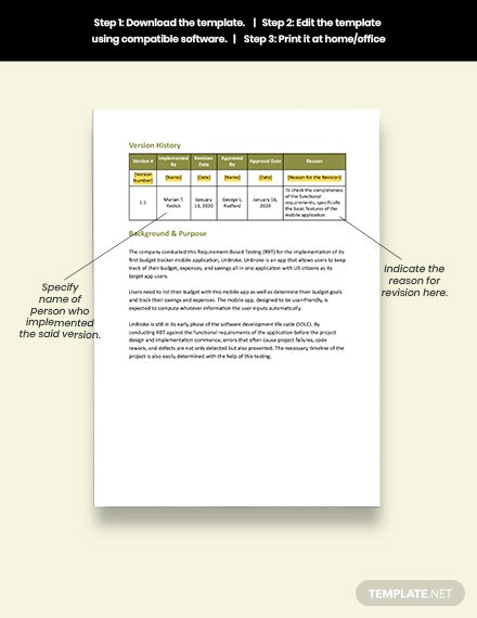 Sample Requirements Testing Report Template