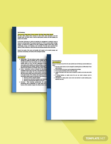 Web Usability Test Report Template Printable