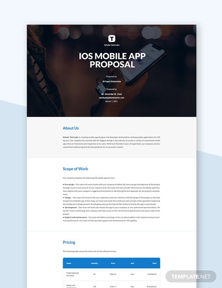 IOS Mobile App Proposal Template