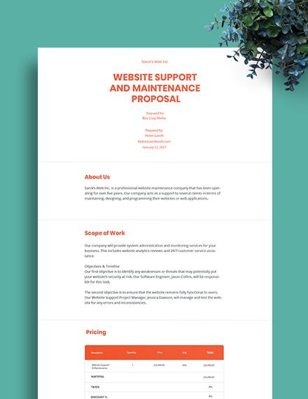 Website Support & Maintenance Proposal Template