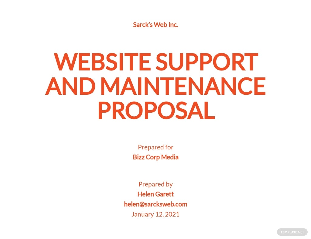 Website Support & Maintenance Proposal Template
