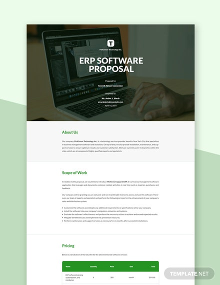 Editable ERP Software Proposal Template