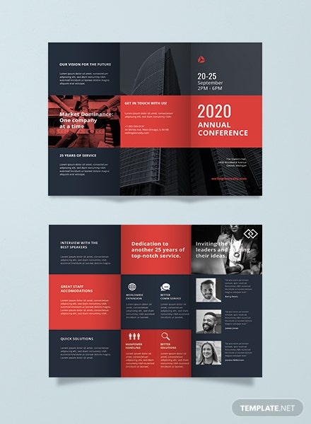 free business conference a3 bifold brochure template in