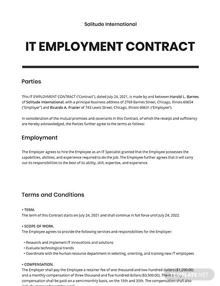 IT Employment Contract Template