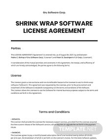 Shrink Wrap Software License Agreement Template