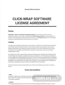 Click-Wrap Software License Agreement Template