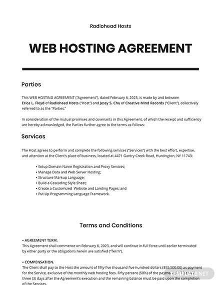Web Hosting Agreement Template