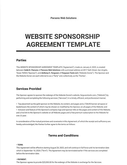Website Sponsorship Agreement Template
