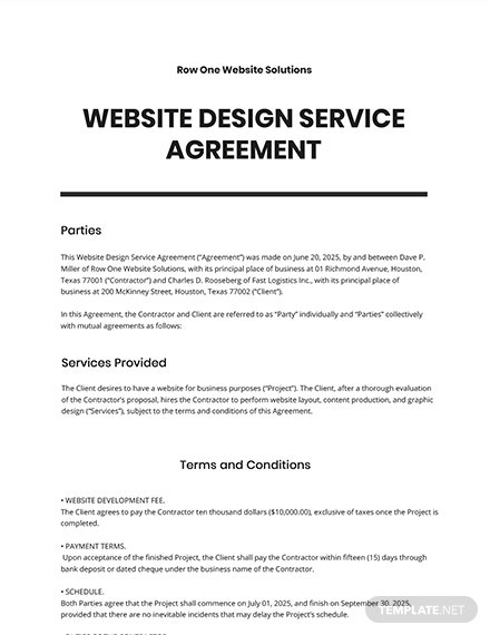 Agreement for the Design of a Web Site Template