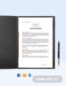 Free Sample Software & IT Notice Template