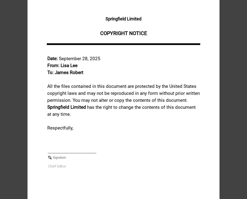 Free Sample Copyright Notice Template