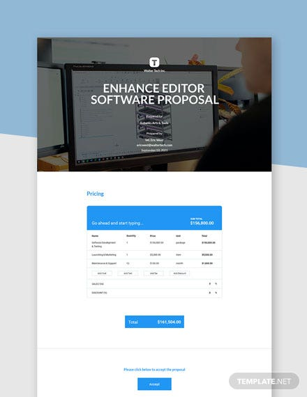 Software One Page Proposal Template