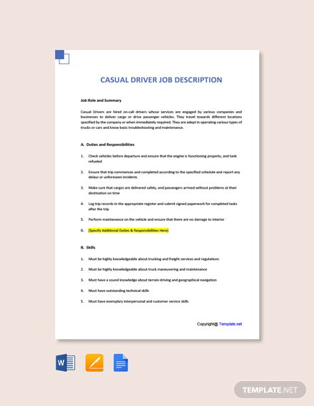 Free Casual Driver Job Ads and Description Template