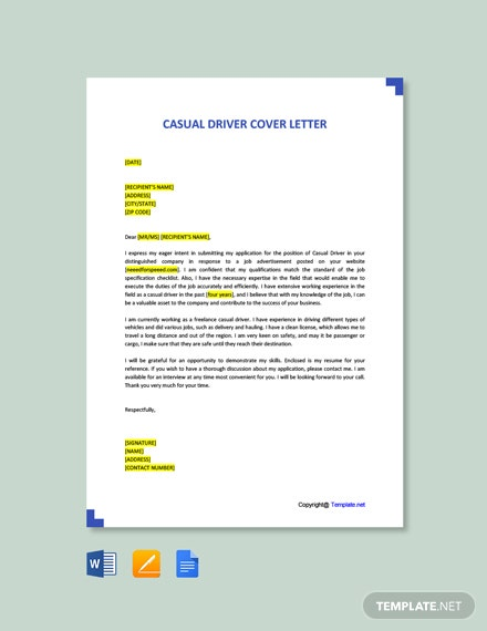 Free Casual Driver Cover Letter Template