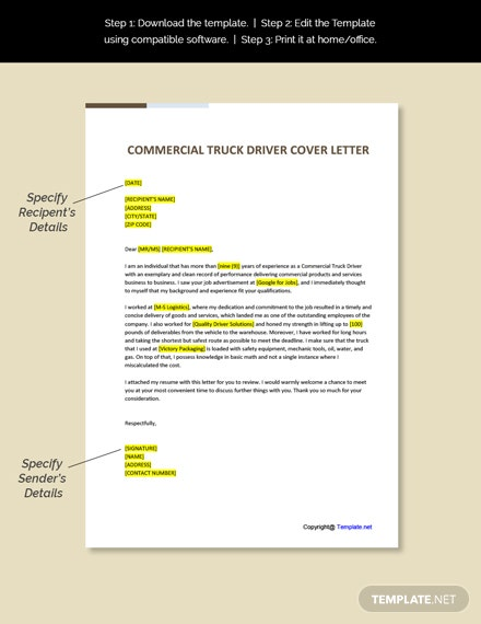 Commercial Truck Driver Cover Letter Template