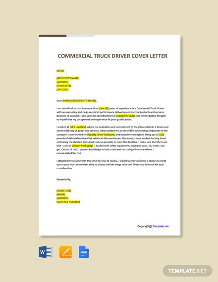 Commercial Truck Driver Cover Letter