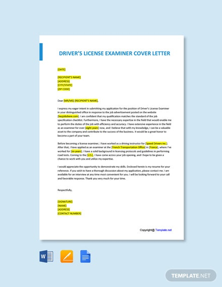 Free Drivers License Examiner Cover Letter Template