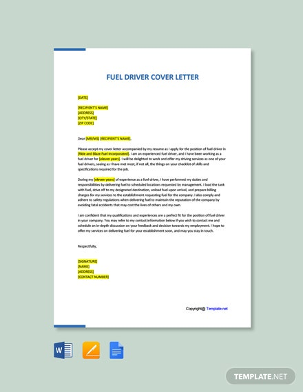 Free Fuel Driver Cover Letter Template