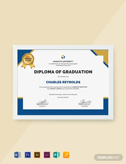 Free Diploma of Graduation Certificate Template
