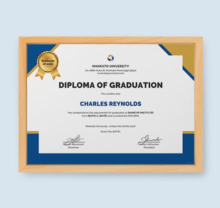Free Diploma of Graduation Certificate Template