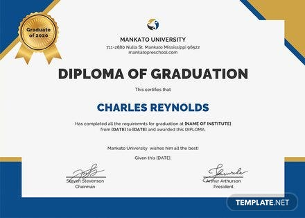 Free Diploma of Graduation Certificate Template: Download 200+ ...