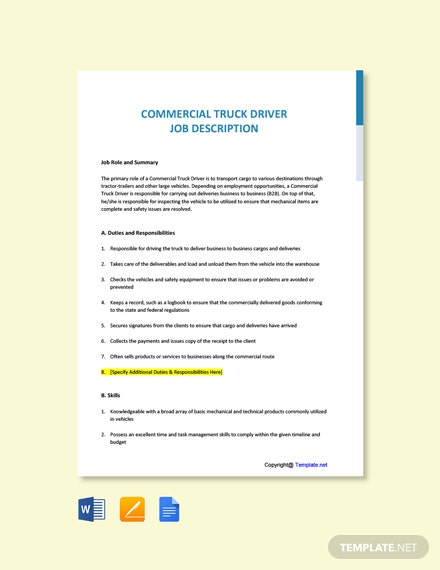 Free Commercial Truck Driver Job Ads and Description Template