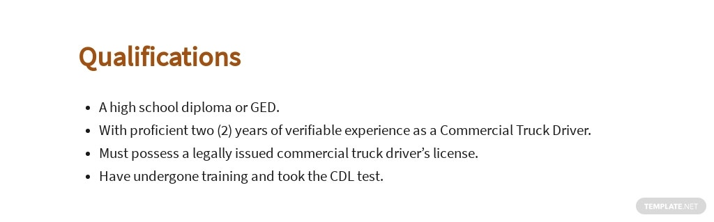Free Commercial Truck Driver Job Ads and Description Template 5.jpe