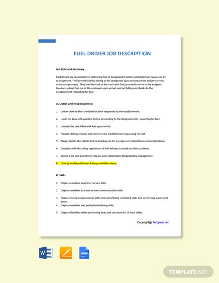 Free Fuel Driver Job Ads and Description Template